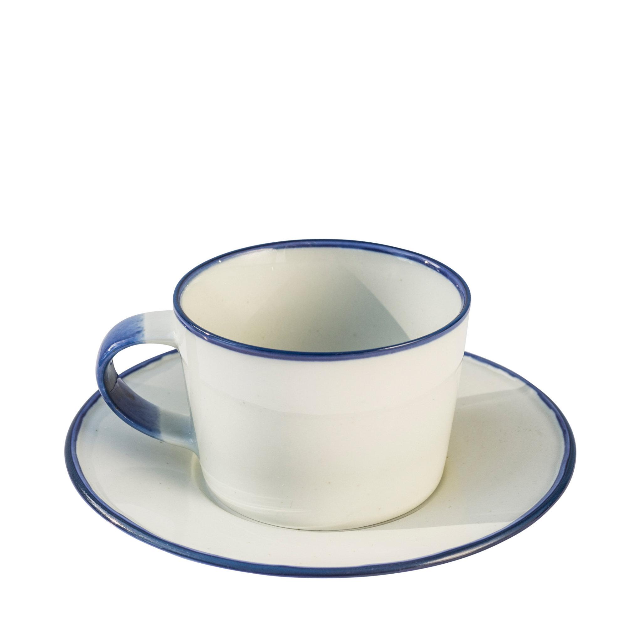 Kaffekopp med fat Blå Ovanåker