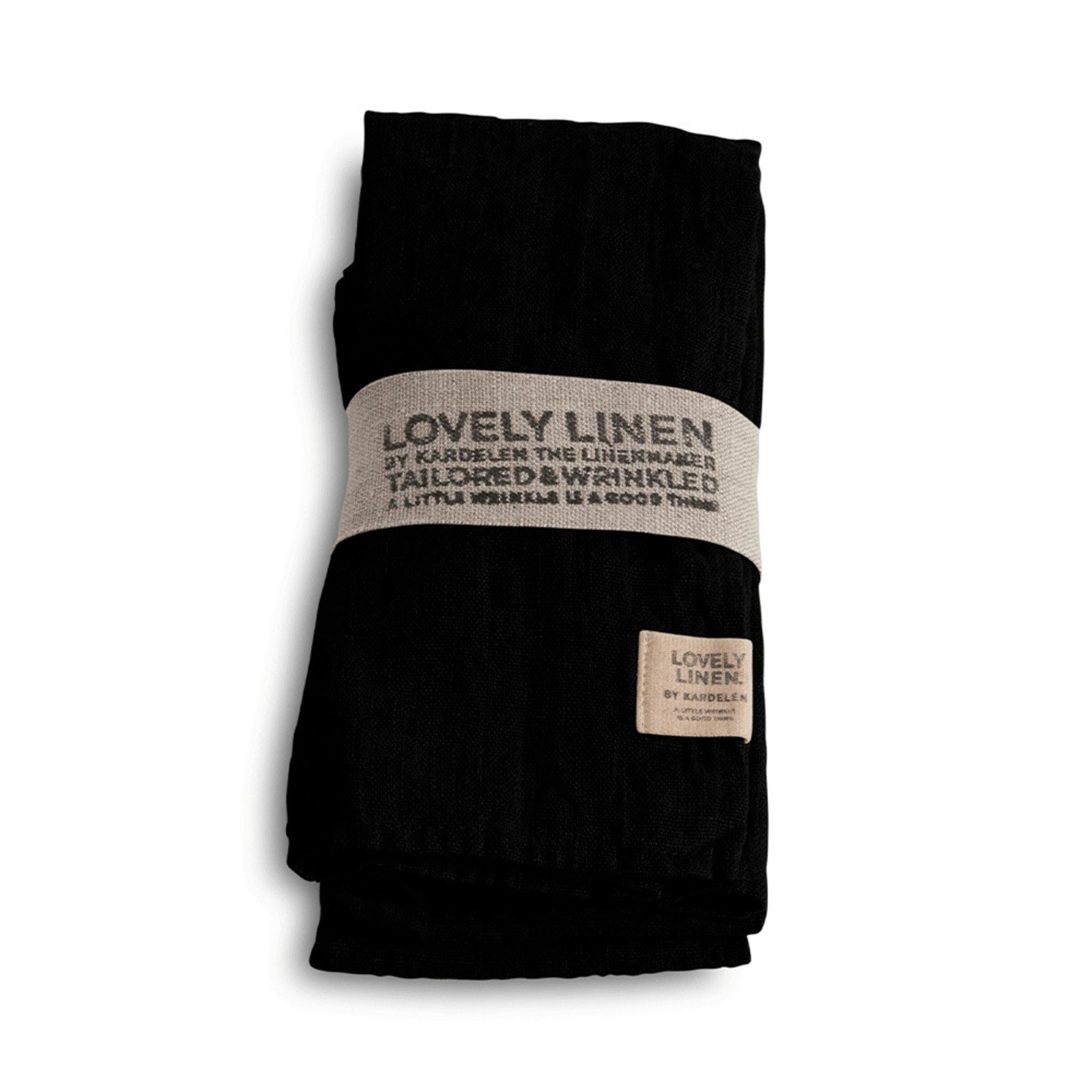 Linneservett 45 x 45 cm 4-pack Black