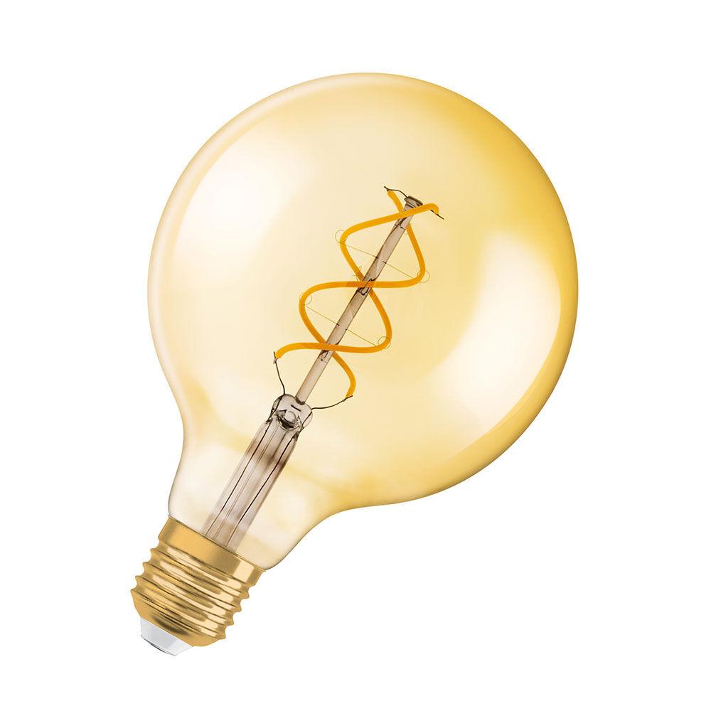 LED-lampa Globe 25 E27 Spiral Gold