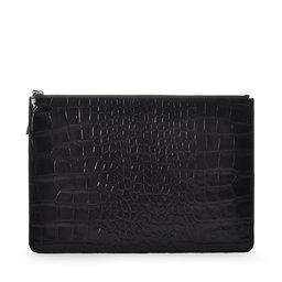 Ceannis Flat Clutch Black Croco Embossed Leather