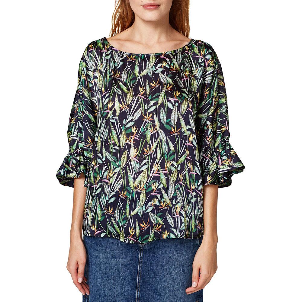 Blus med tropiskt mönster