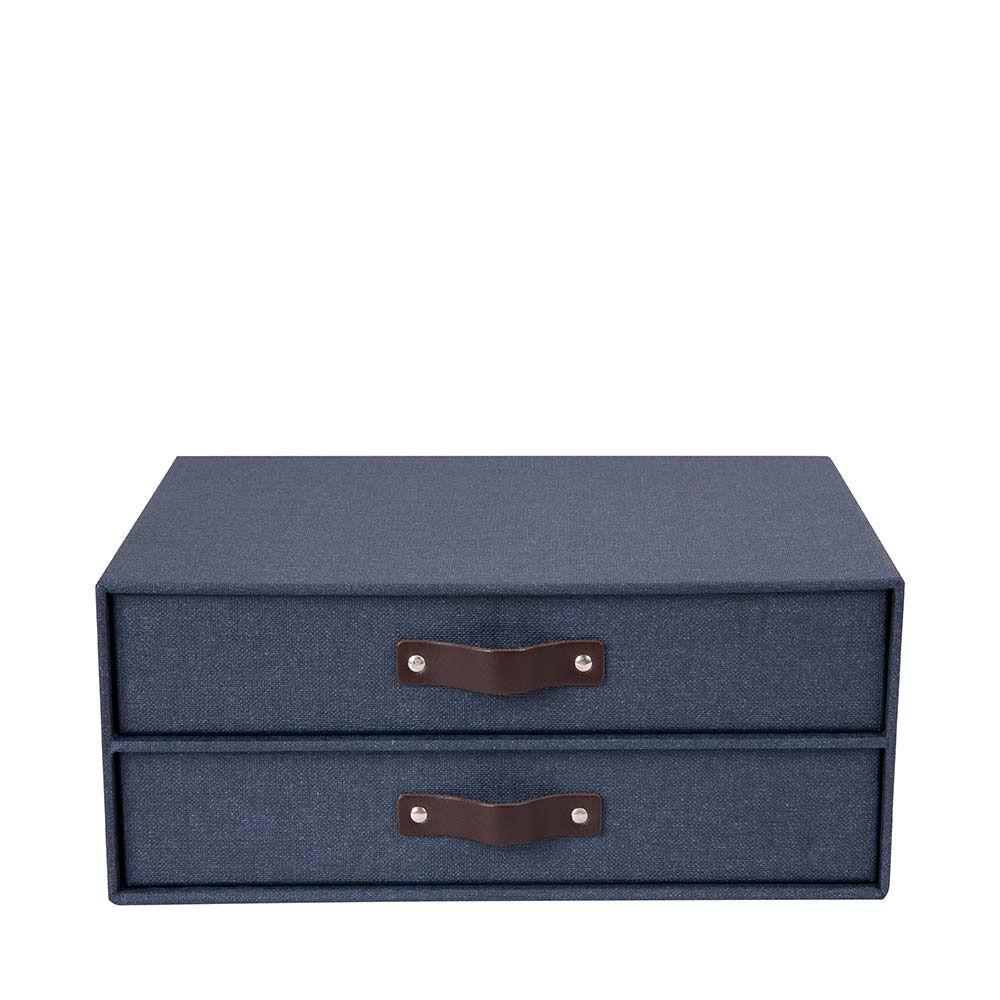 Byrå med två lådor Birger Blue