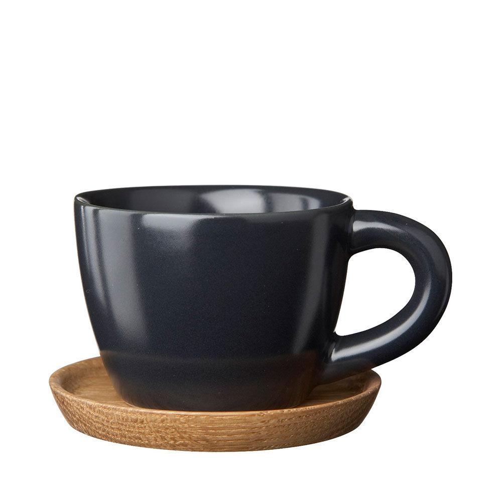 Espressokopp med träfat Höganäs Keramik 10 cl