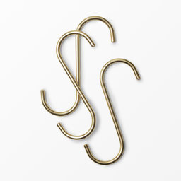 Guldfärgad S-krok i metall 3-pack