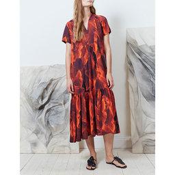 Long V neck Ruffle Dress