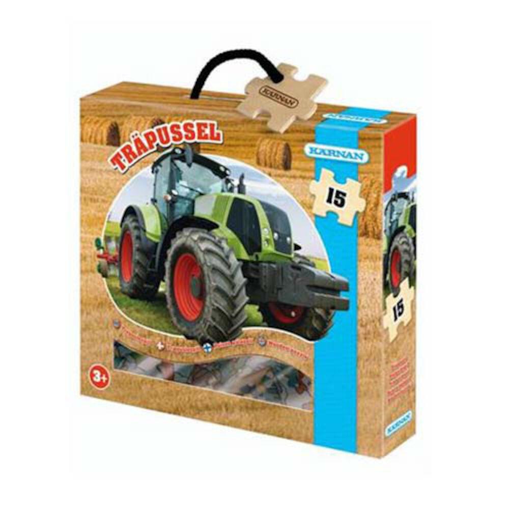 Träpussel traktor, 15 bitar