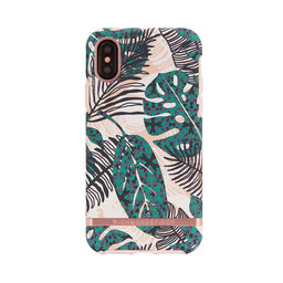 Mobilskal iphone X Tropical Leaves rose gold details