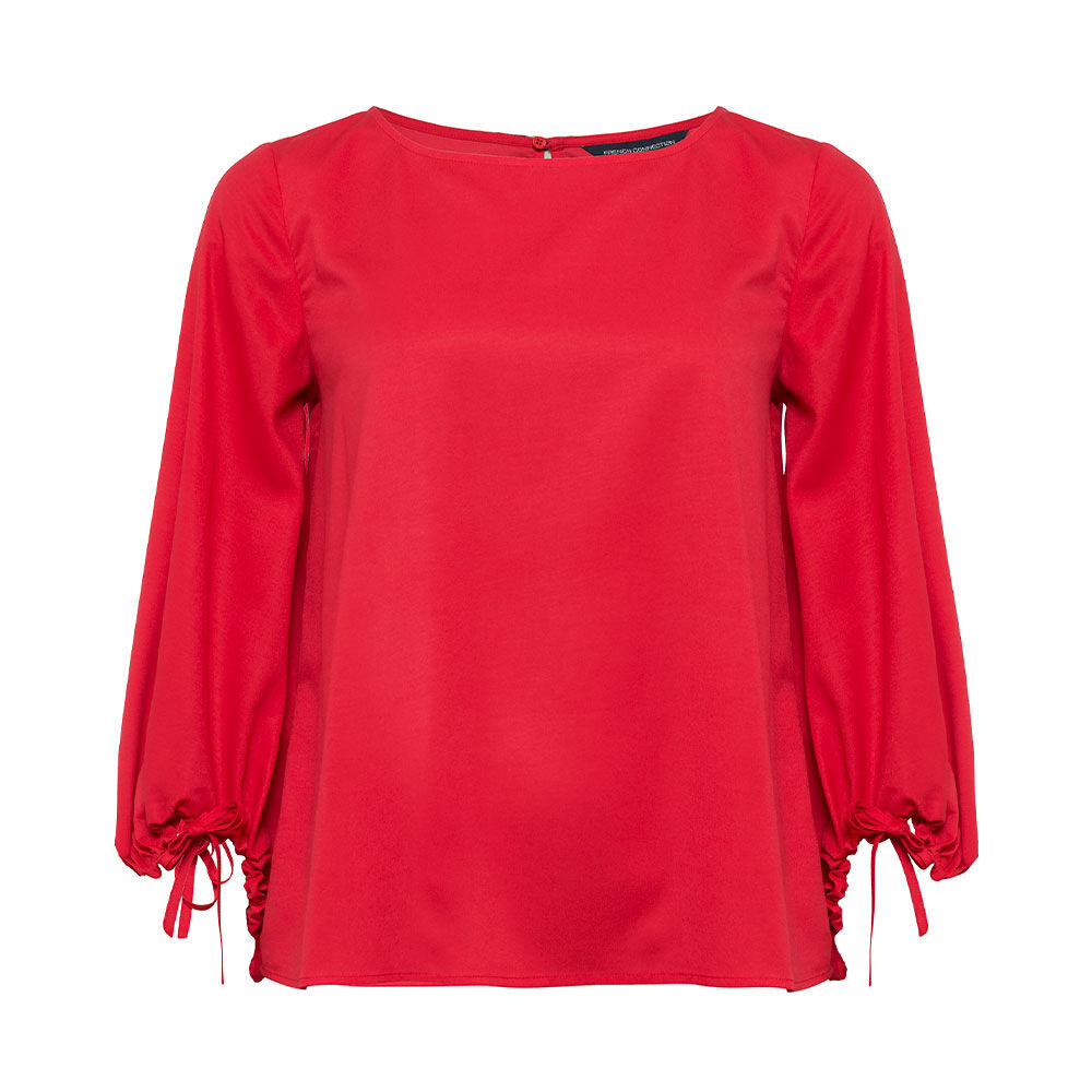 Crepe Light Solid Puff Sleeve Blouse