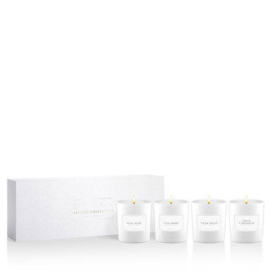 White gift set with 4 luxury mini scented candles