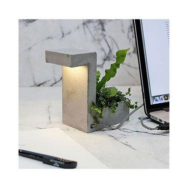 Concrete Desk Lamp With Planter