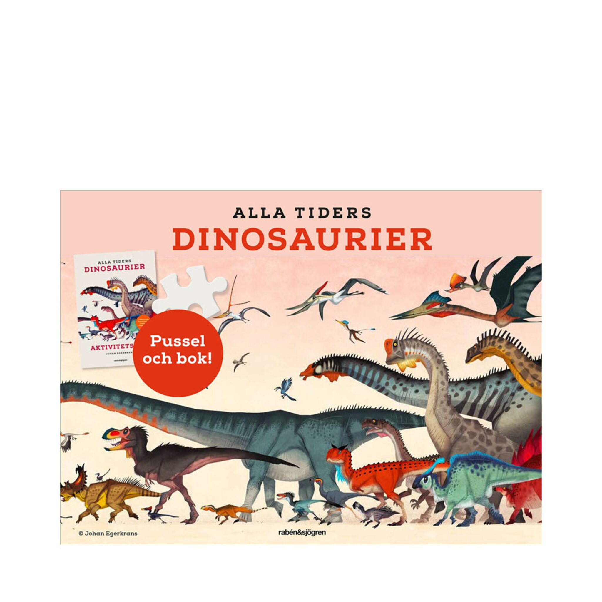 Alla tiders dinosaurier: aktivitetsbok, plansch + pussel 150 bitar
