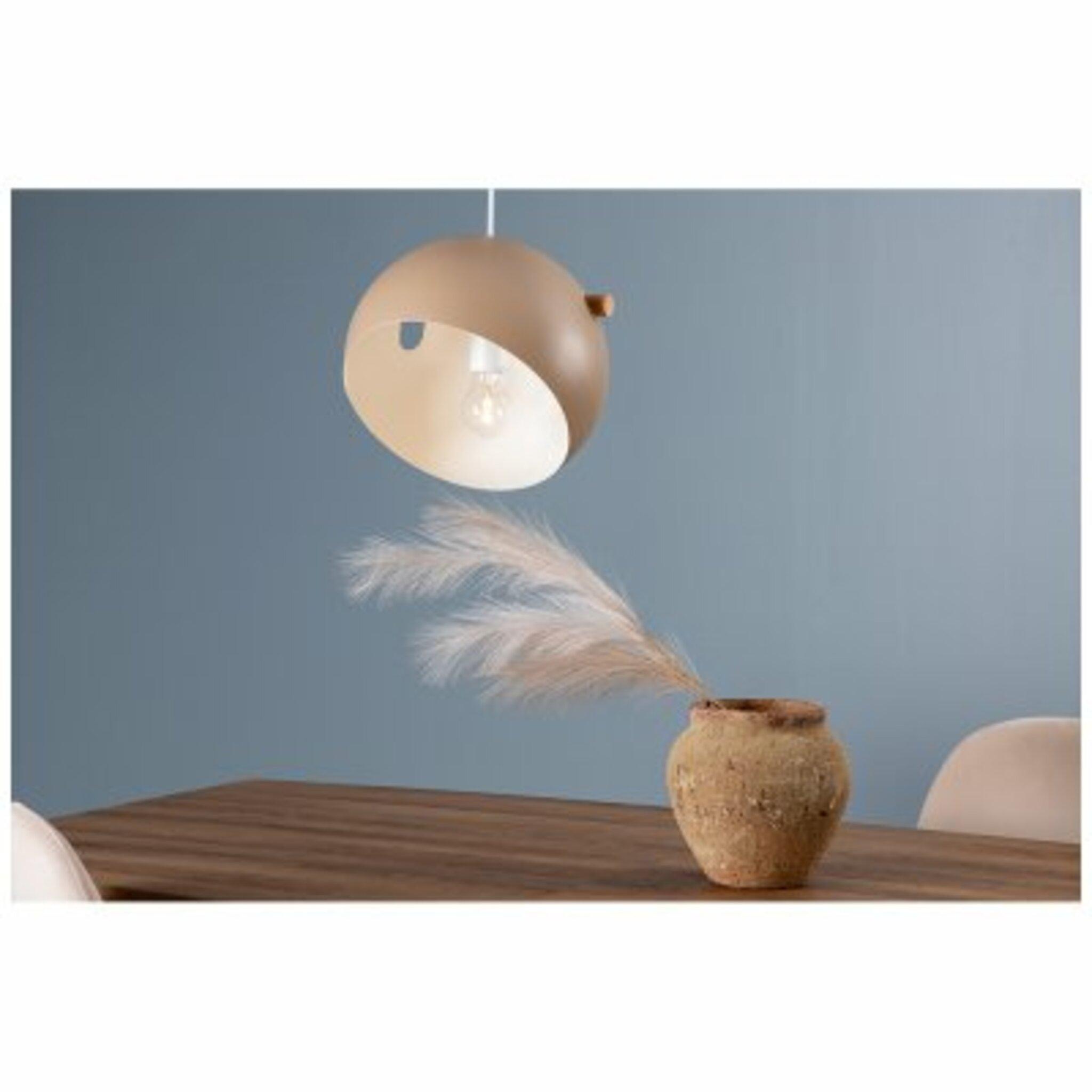 Taklampa Tubbie 23x23x16, beige natur/trä
