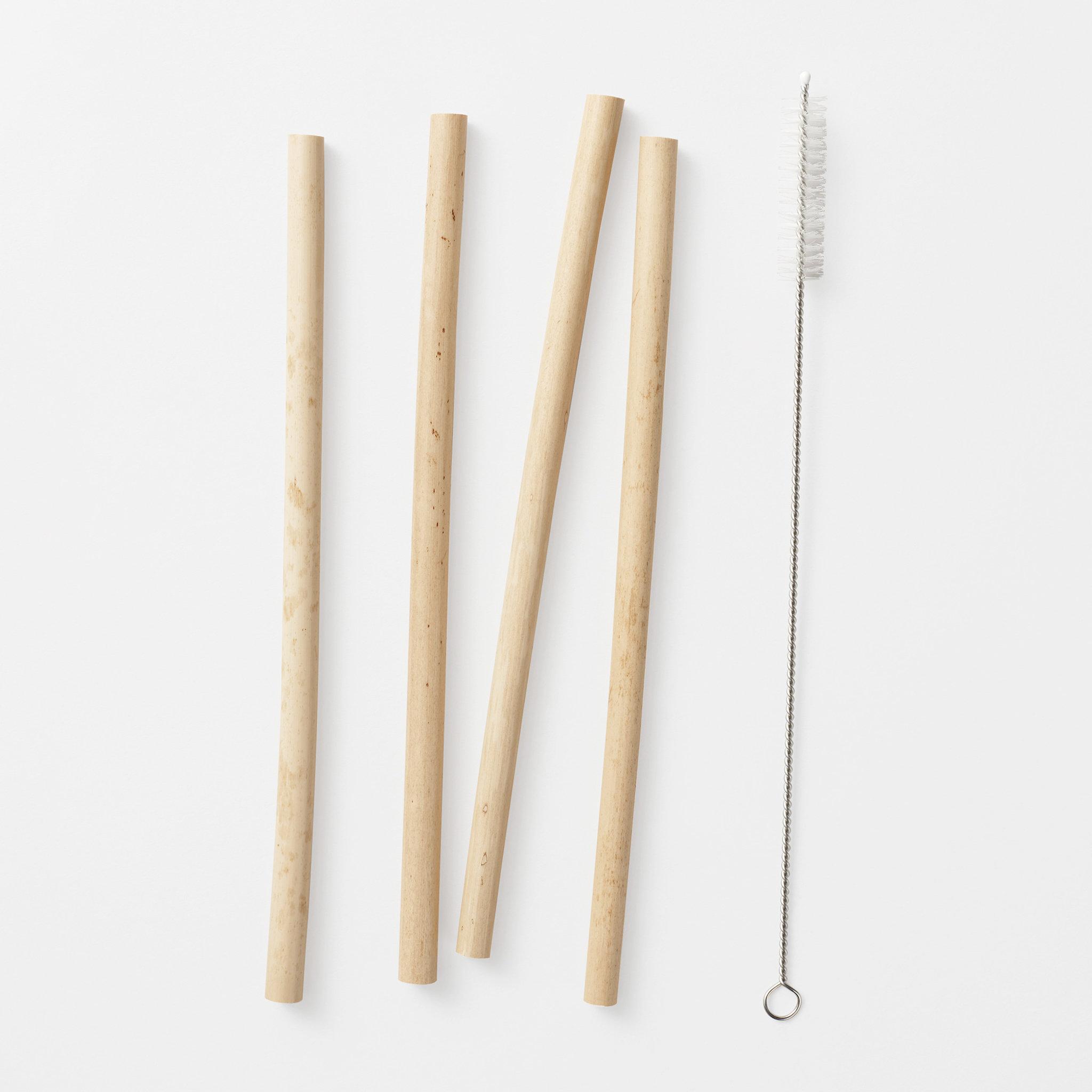 Sugrör bambu, 4-pack