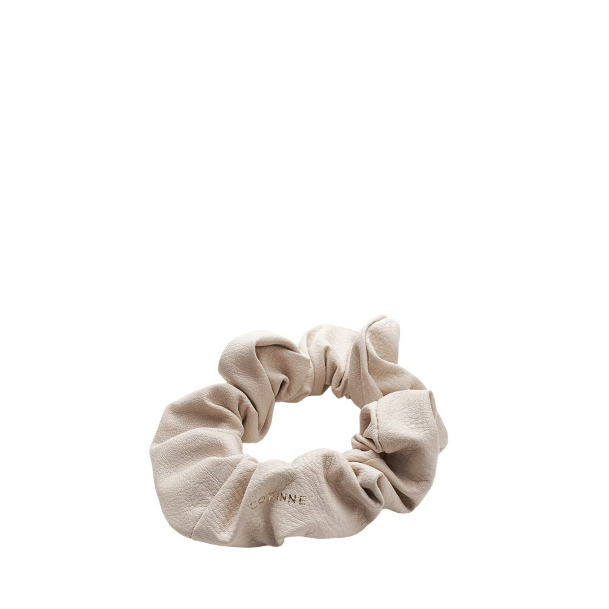 Leather Scrunchie Cream, ONE SIZE