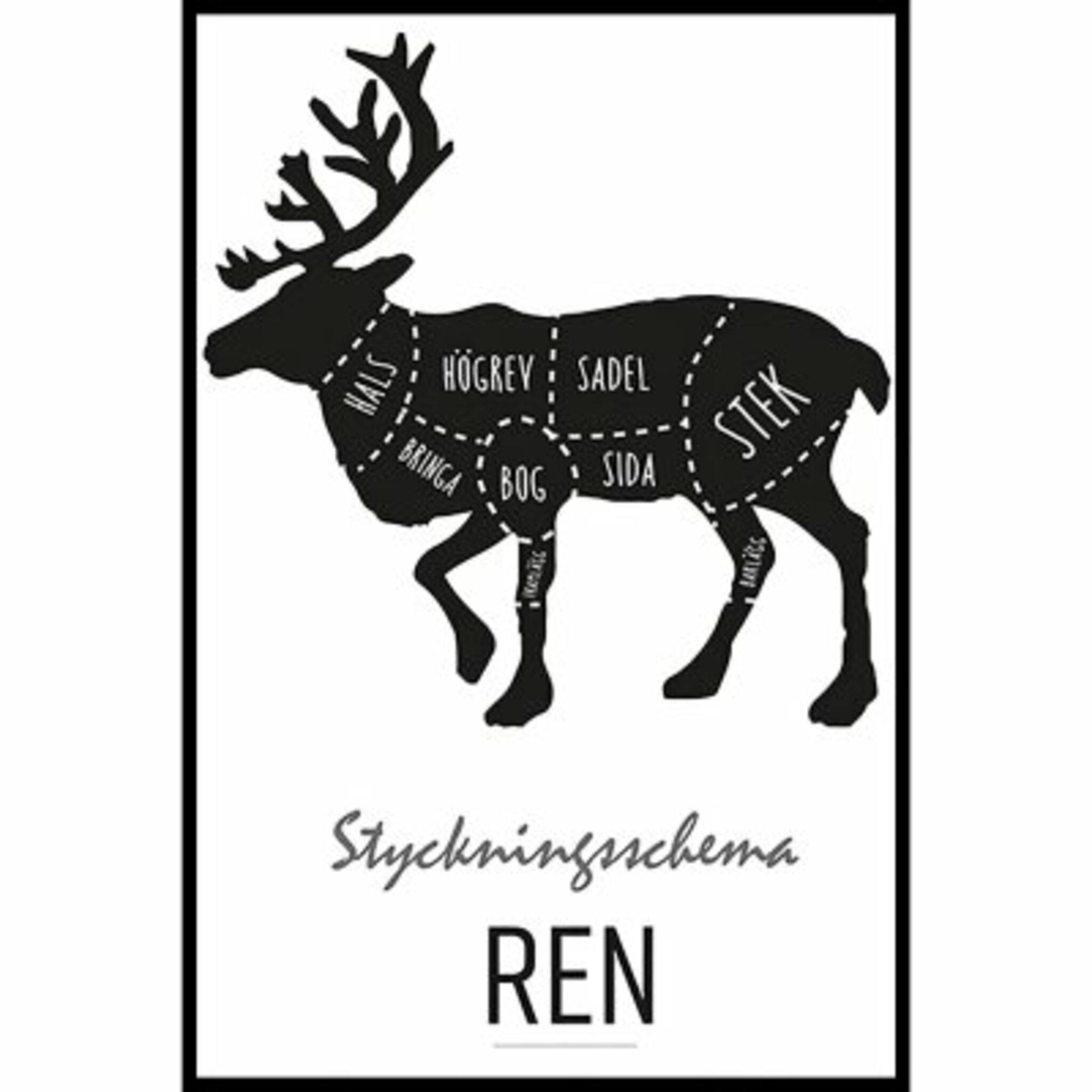 Styckningsschema Ren Poster
