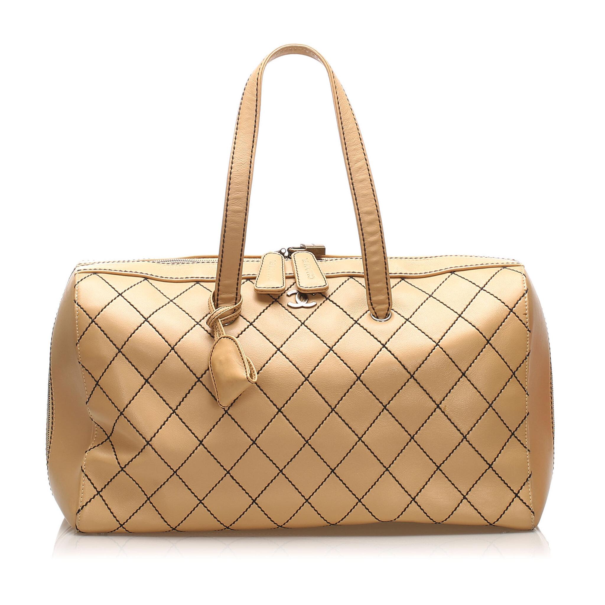 Chanel Cc Wild Stitch Leather Travel Bag
