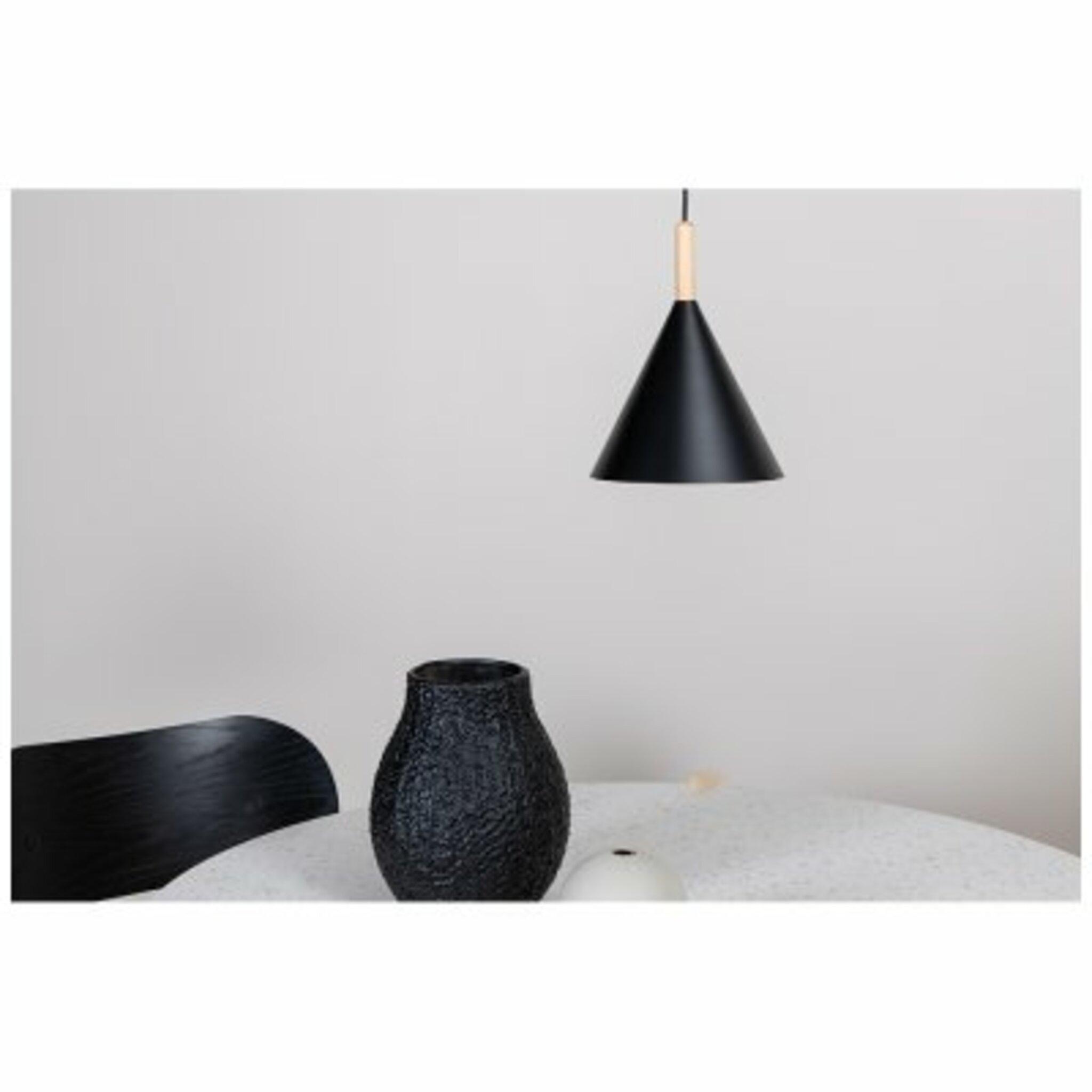 Taklampa Enif 20x26cm, svart/natur/trä