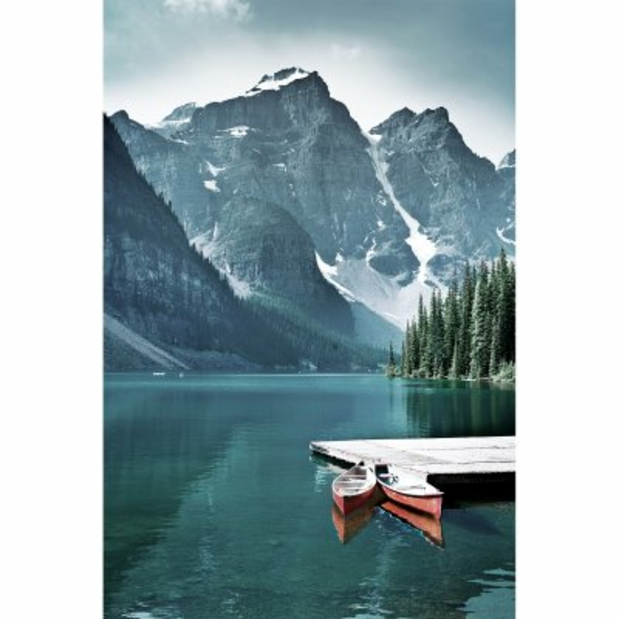 Canoes In Lake Poster