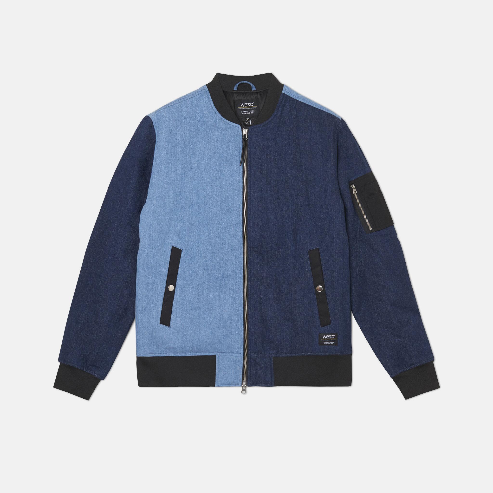 Bomber Blocked denim jacket, multi indigo