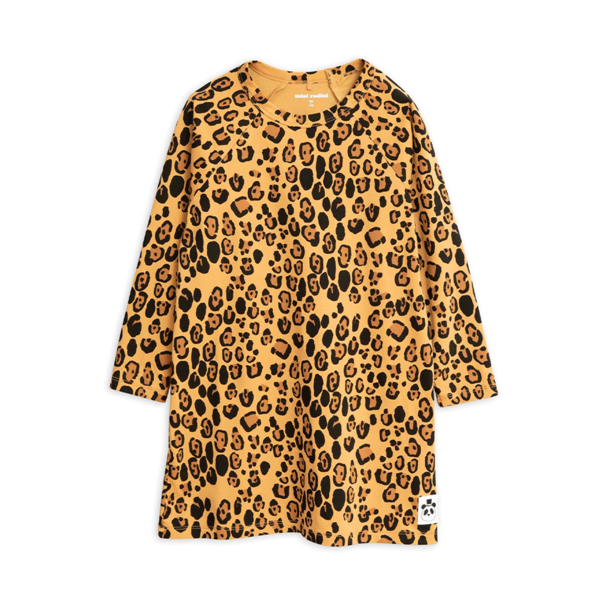 Basic Leopard Långärmad Klänning, Gul