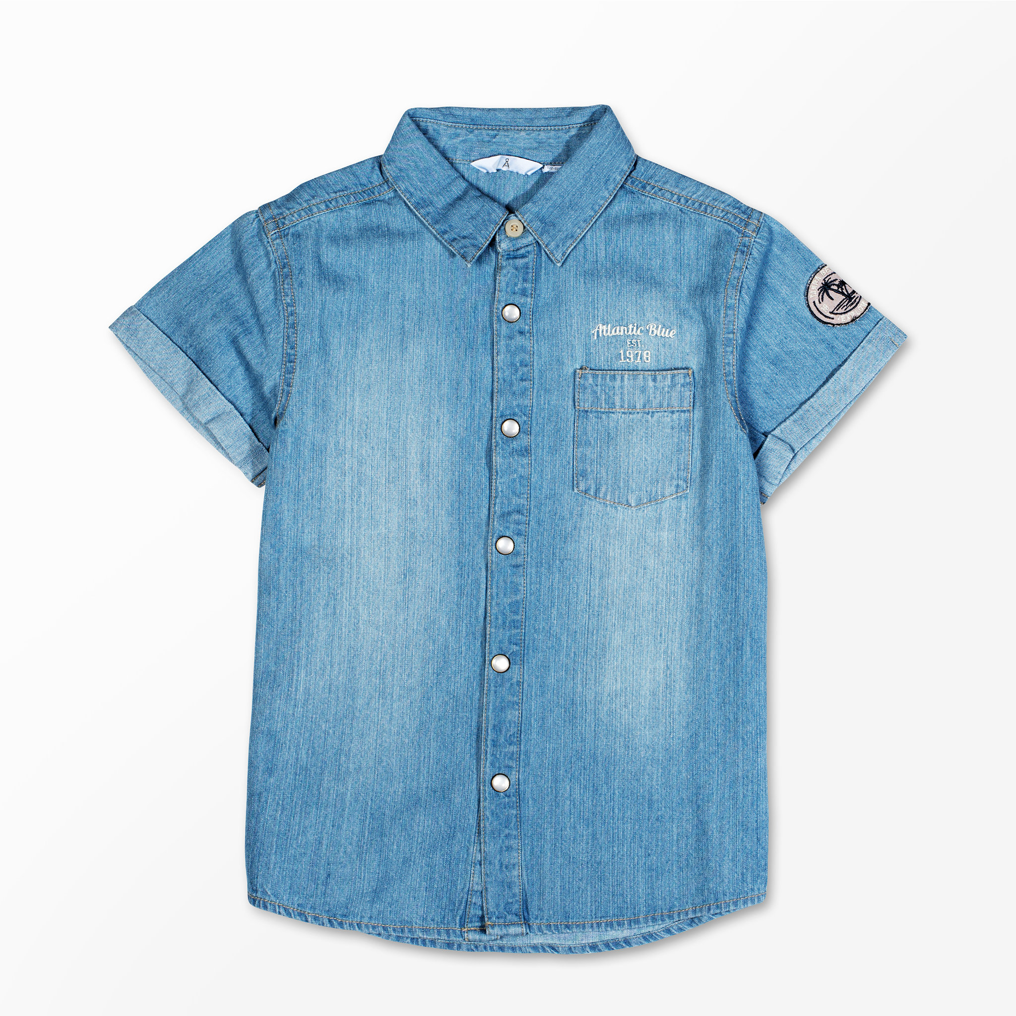Jeansskjorta med kort ärm - Barnkläder stl. 122-152 - Köp online på  åhlens.se! a4800156657ba