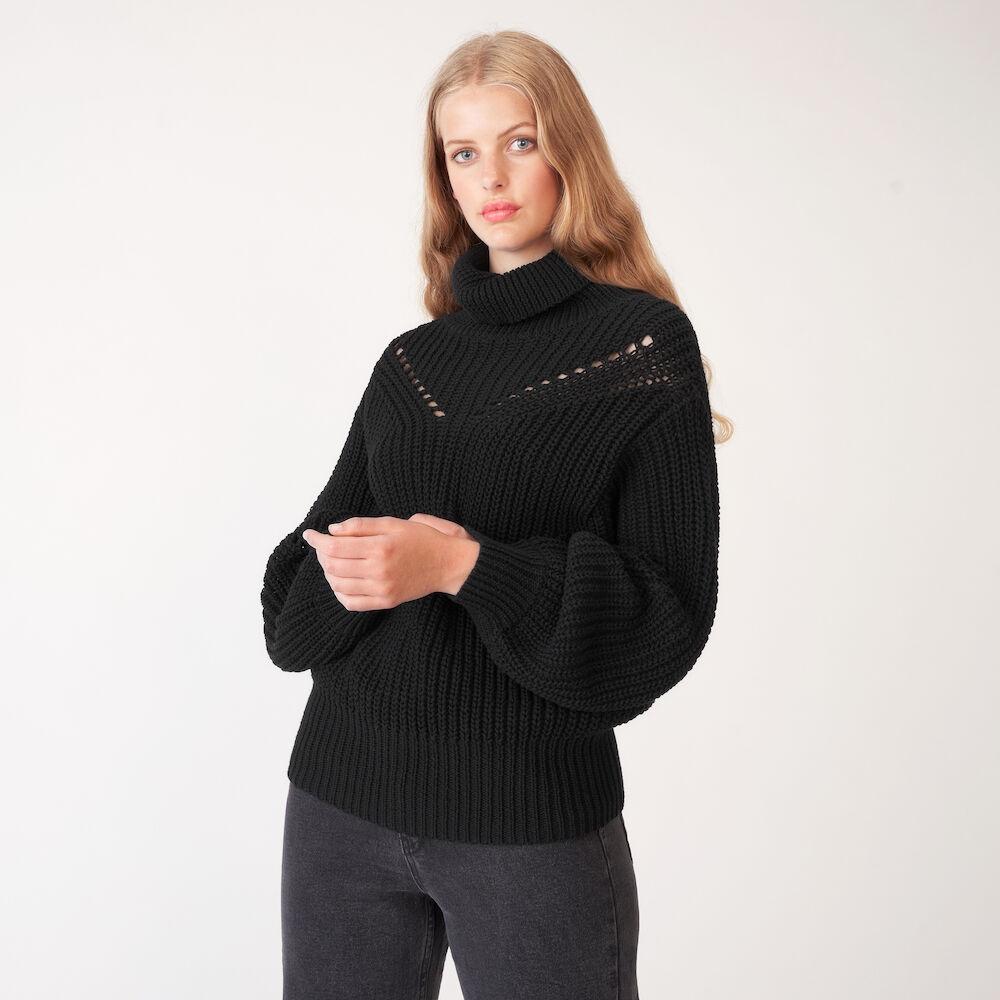 Stickad Polo NORA, svart