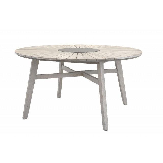 Utebord/Matbord Rives Ø150 cm, antikvit/akacia/sten