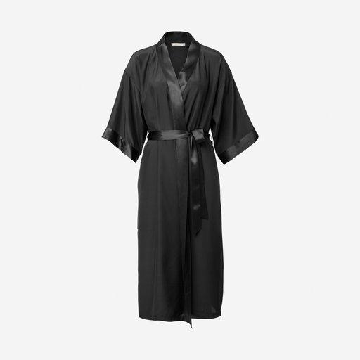 Kimono i siden, svart
