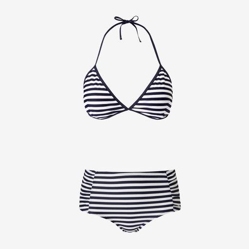 blå vit randig bikini