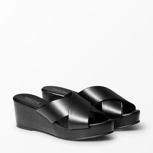 Sandal med kilklack, svart