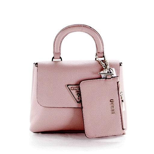 GUESS Aretha Top Handle Flap Handtasche Tasche Lipstick Multi Rot Rosa