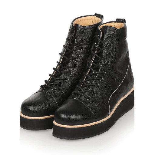 425g Black Top Grain Leather, svart