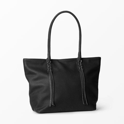 Väska i läder med flätat front svart
