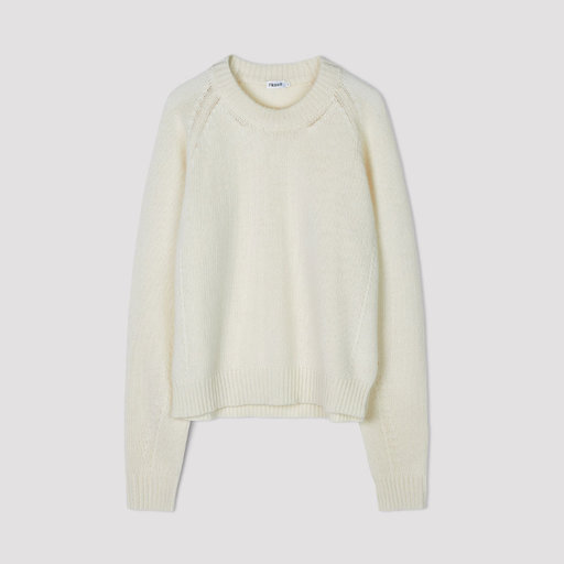 Soft R Neck Sweater, offwhite