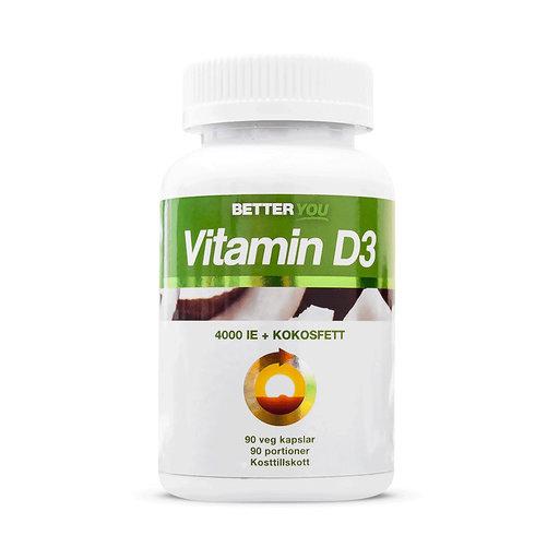 Vitamin D3 4000 IE + Kokosolja, 90 kapslar