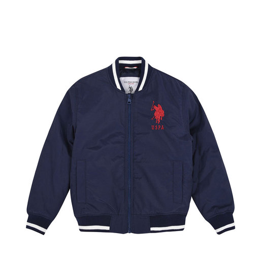 US POLO TIPPED BOMBER JACKET, marinblå